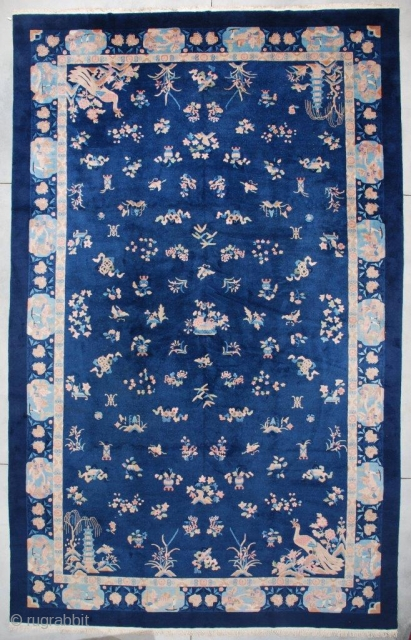 "#7314 Antique Art Deco Chinese Rug 11'3"" X 17'6""