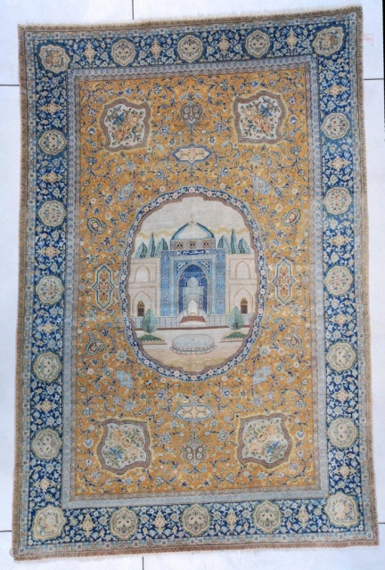 #7384 Antique Hadji Lili Tabriz Persian Rug