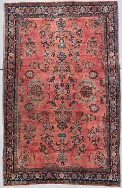 "Antique Mahajaran Sarouk 4'4"" X 6'6"" #7941 This circa 1900 Mahajaran Sarouk measures 4'4"" X 6'6"". These Mahajaran Sarouks were the finest Sarouks of their era made between 1890-1910. They were the most  ..."