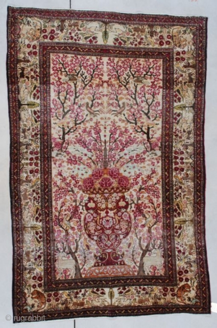 """#7495 Isphahan  This circa 1880 Isphahan measures 4'4"""" X 6'10"""" (134 x 212 cm).  It is a stunningly beautiful phantasmagorical depiction of a flowering garden / tree of life motif complete with  ..."""