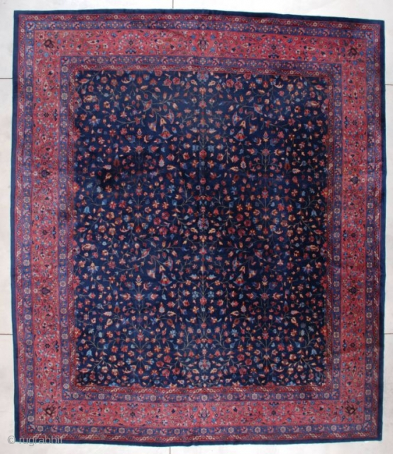 "http://www.antiqueorientalrugs.com/CLOSEUP%20PAGES/7208%20indo%20kashan.htm This circa 1900 Indo Kashan measures 11'10"" X 13'10'. The size of this rug is utterly fantastic, as nearly square sizes are hard to find.  It has a deep indigo  ..."