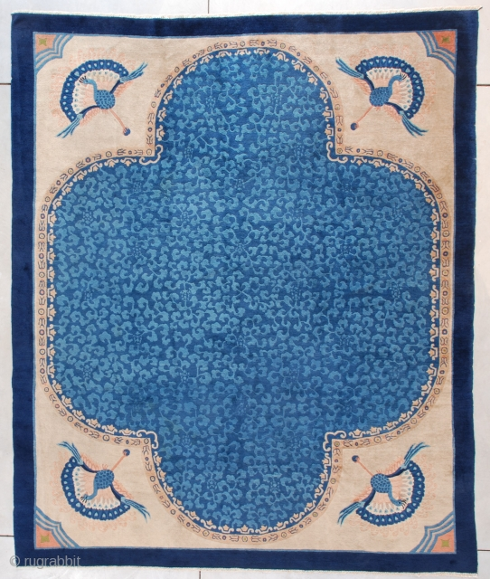 "This circa 1910 Peking Chinese Oriental Rug measures 8'1"" X 9'10"" (246 x 302 cm). It has a very unique design. The field is a medium blue with a very formal layout  ..."