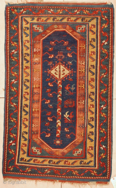 """#6020 Megri  This mid 19th century Megri measures  3'3"""" x 5'3"""" (100 x 161 cm). It has a single panel in blue with yellow and lighter blue borders. The ends and sides  ..."""