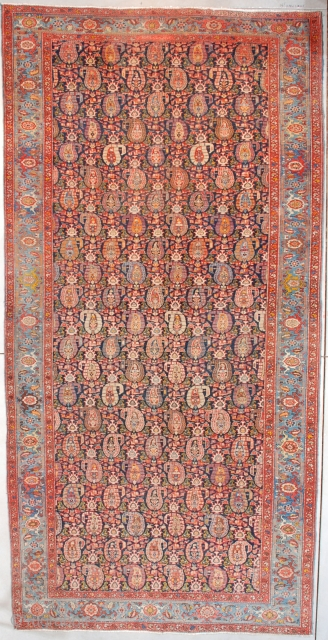 """#7558 Heriz  This circa 1910 antique Heriz Oriental Carpet measures 6'10"""" X 13'9"""" (210 x 423 cm). This to my eye is a unique Heriz. I have never seen this design in a  ..."""