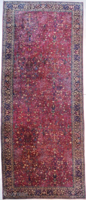 "#7549 Antique Sarouk Persian Oriental Rug 6'11"" X 14'3″