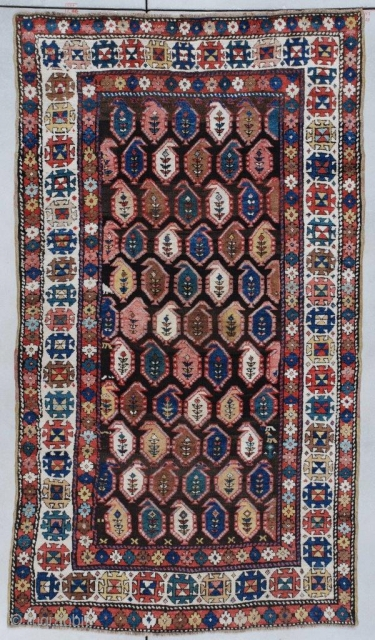 """This circa 1890 Caucasian Kazakh #7320 carpet measures 4'4"""" x 7'6"""" (134 x 231 CM). It is multicolored on an abrashed brown field with lots of cute little asymmetric surprises in the  ..."""