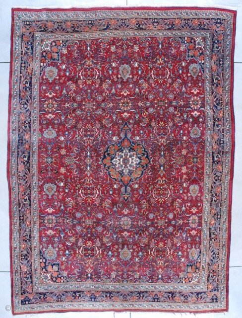 """#7534 Room Size Bidjar Oriental Rug  This circa 1930 Bidjar Persian Oriental Carpet measures 8'9"""" X 11'10"""" (271 x 363 cm). It has a medium red to maroon field with a Herati  ..."""