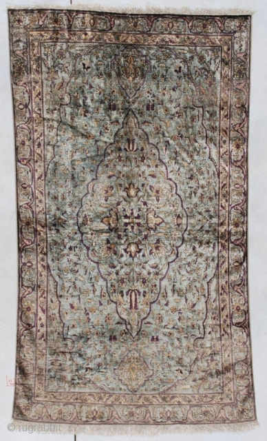 """Silk Fereghan Antique Persian Rug #7536 This Silk Fereghan antique Persian Oriental carpet measures 3'6"""" X 6'6"""" (109 x 201 cm). It has a medium pale blue background with an overall floral design  ..."""
