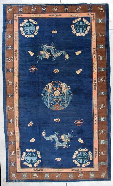 """#7318 Peking Chinese Rug  This Peking Chinese Oriental carpet measures 9'1"""" X 15'5"""". This is a very interesting Peking Chinese rug with a dragon and bat motif.  And to keep things from  ..."""