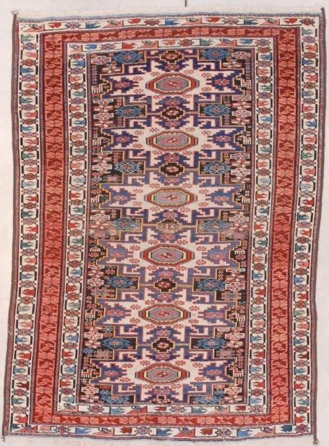 "#7556 Shirvan Antique Caucasian Rug This 4th quarter 19th century Shirvan Lesghi Star Caucasian Oriental Rug measures 3'3"" X 4'6"" (100 x 140 cm). It has six Leshgi stars on a black ground.  ..."