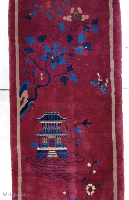 """http://www.antiqueorientalrugs.com/CLOSEUP%20PAGES/7176%20Art%20Deco%20Chinese%20Runner.htm This circa 1925 Art Deco Chinese runner measures 2'7"""" X 14'7"""". It is a stunning full pile, perfect condition deep garnet colored Art Deco Chinese runner in a very hard to  ..."""