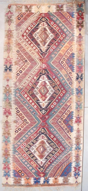 """#7599 Antique Yoruk Kilim Rug  This beautiful mid to early 19th century Yoruk Kilim measures 5'10"""" x 13'4"""" (180 x 408 cm). It is woven as usual in two panels and put  ..."""