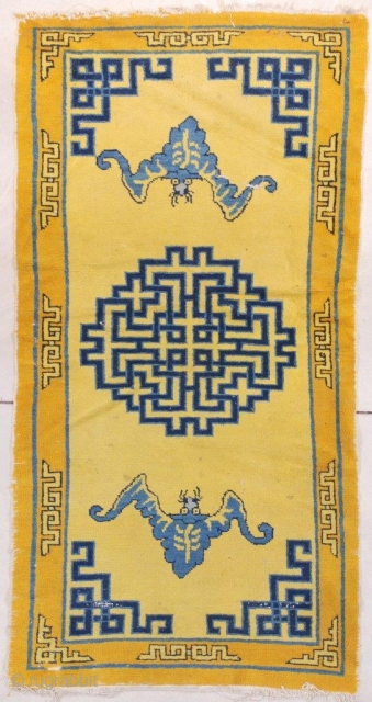 """#7663 Antique Chinese Rug This circa 1890 Chinese rug measures 3'1"""" x 5'11"""" (94 x 181 cm). There are two blue bats on a saffron yellow ground with Chinese fretwork in two shades  ..."""