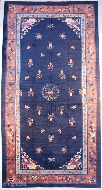 """#7664 Antique Peking Chinese Oriental Rug This circa 1890 Peking Chinese rug measures 9'10"""" x 18'10"""" (304 x 576 cm). It has a beautiful blue field with scattered iconography of peonies, butterflies, vases  ..."""