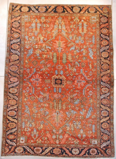 #7658 Antique Heriz Persian Rug 