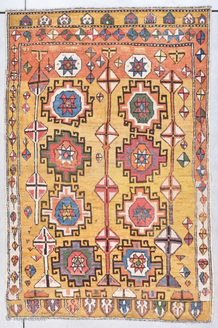 """This early 18th century possibly mid-17th century Konya antique rug is incredibly beautiful and certainly belongs in any museum. It measures 4'5"""" X 6'8"""" (137 x 207 cm).  It has a  ..."""