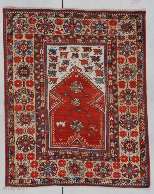 "#7143 Melas  This Melas prayer rug measures 4'0"" X 5'0"". A very similar example of this rug is in the Turk Ve Islam Eserleri Museum, Istanbul, Inventory NR 318. It can be seen  ..."