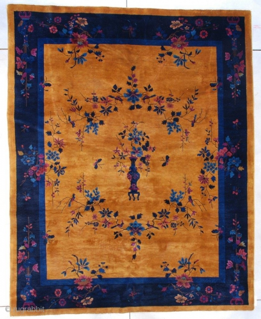 """This circa 1925 Mandarin Art Deco Chinese rug measures 7'9"""" x 9'9"""" ( 240 x 301 cm). It has a gold colored field, the same color as a gold coin. There is  ..."""