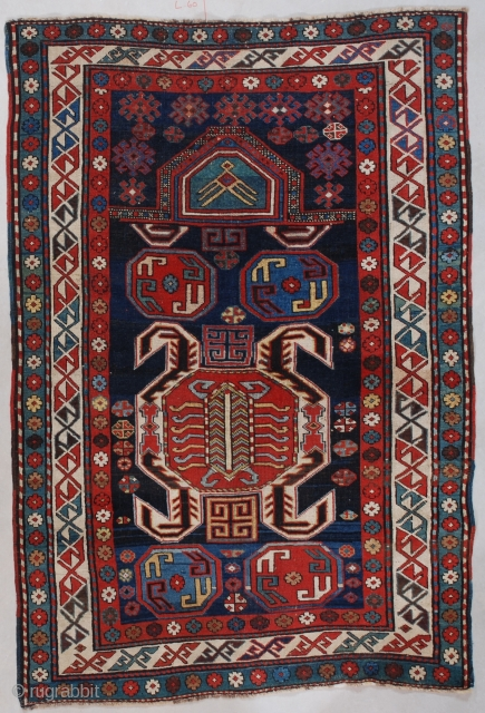 "#7587 Lenkoran Prayer Rug This 3rd quarter 19th century Lenkoran Prayer rug measures 3'5"" X 4'11"" (106 x 150 cm). To my knowledge this is a unique motif for this type of  ..."