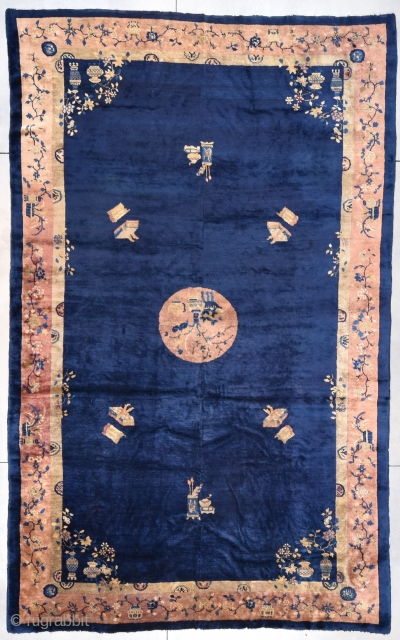 "This circa 1890 Peking Chinese antique Oriental Rug measures 10'0"" X 16'0"" (305 x 487 cm). Miles of blue! This rug has an indigo field containing a circular central medallion in rusty  ..."