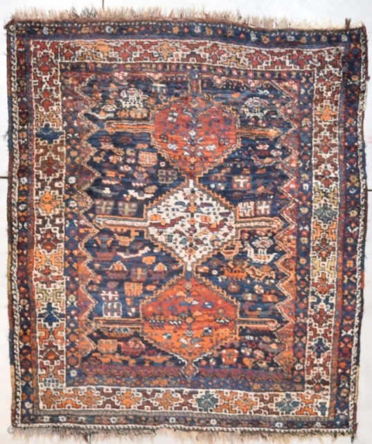 "This circa 1920 Shiraz Oriental Rug measures 5'6"" X 6'3"" (171 x 192 cm). It is a lovely Shiraz in a Khamsheh design very similar to what's known as a chicken rug.  ..."