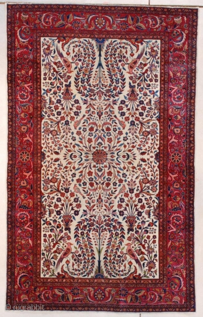 "#7657 Dabir Kashan Antique Persian Rug  This circa 1900 antique Dabir Kashan Persian Oriental carpet measures 4'1"" X 6'7"" (125 x 204 cm). This elegant rug has a floral motif consisting of  ..."
