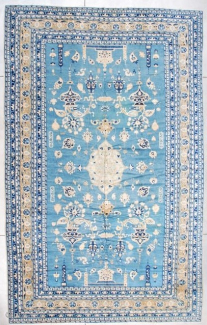 """#7255 India Rug Signed Ghazan  This antique rug made in India in the last quarter of the 19th century is signed Ghazan. It measures 10'2"""" x 16'2"""". It is a fantastic rug with  ..."""