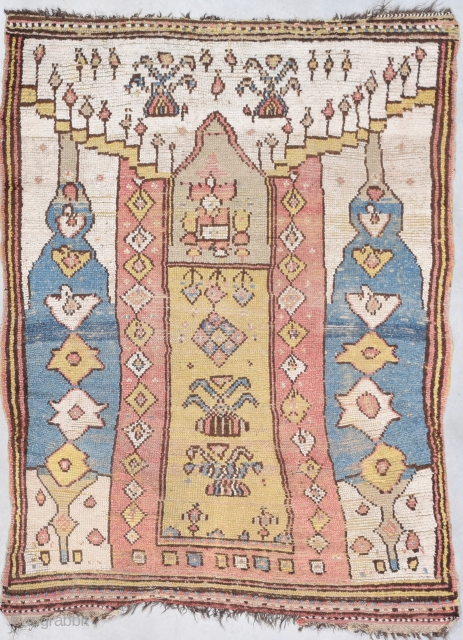 """Antique Manastir Rug 4'1"""" X 5'4"""" #7916 This antique Manastir rug measures 4'1"""" X 5'4"""". This is one of the most archaic architecturally beautiful rugs that I have ever seen in my life.  ..."""