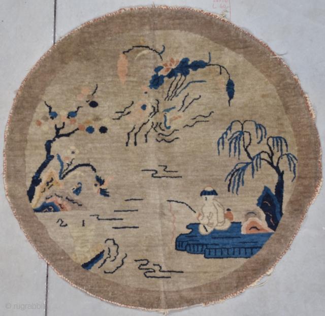 #7707 Antique Peking Chinese Rug 4′ round $475.00 Size: 4'0 round  Age: Circa 1920  https://antiqueorientalrugs.com/product/7707-antique-peking-chinese-rug/