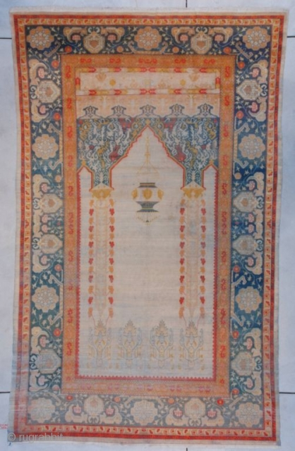 """#7397 Hereke  This circa 1850 Hereke measures 6'1"""" X 9'11"""" (185 x 303cm). This is the finest woven wool rug I have ever seen. It is 10×11 knots to the square centimeter which  ..."""