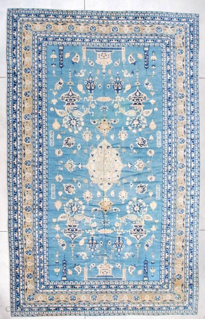 #7255 Antique India Rug Signed Ghazan 10'2″ X 16'2″  Size: 10'2″ x 16'2″ (310 x 492 cm)  Age: last 1/4 19th Century  https://antiqueorientalrugs.com/product/7255-antique-india-rug-signed-ghazan/