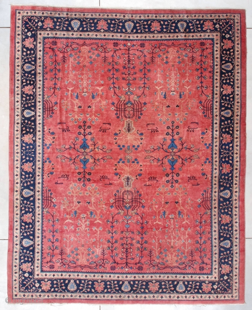 """#7469 Antique Laristan Oriental Rug 9'0″ x 11'2″  This dated 1904 Laristan Oriental Rug measures 9'0"""" x 11'2"""". It has a pale rose ground with an overall very open floral design in ivory  ..."""