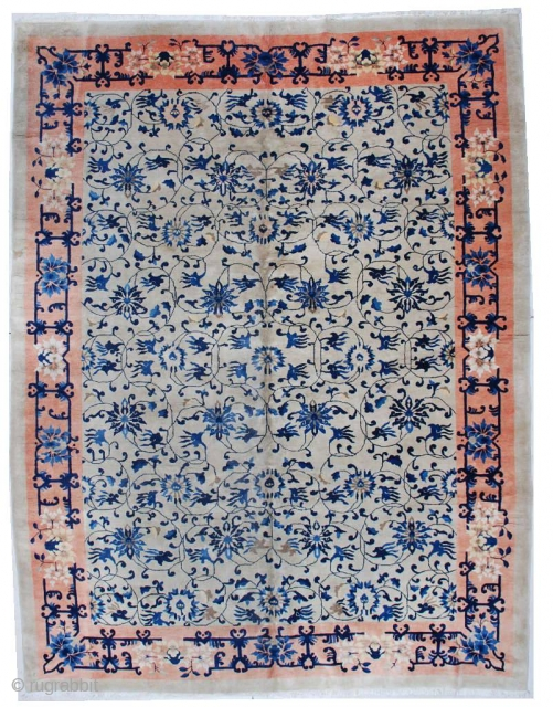 "This Vintage 1930's Art Deco Chinese Oriental rug #5952) measures 9' X 11'10"". It has more the feel of Art Nouveau than Art Deco. The ivory field is completely covered in intertwining  ..."