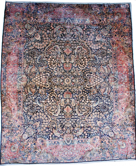 """#7496 Laver Kerman This circa 1930 Laver Kerman measures 13'0"""" X 15'6"""" (396 x 481 cm). This magnificent Laver Kerman is sometimes referred to as a 'crowded Kerman' for obvious reasons. This palace  ..."""