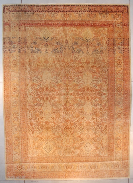 """#7551 Hadjilili Tabriz This 19th century Hadjilili Tabriz measures 9'6"""" X 13'2"""" (293 x 402 cm). It has a cream colored ground with an overall floral motif in peach and aubergine. The major  ..."""
