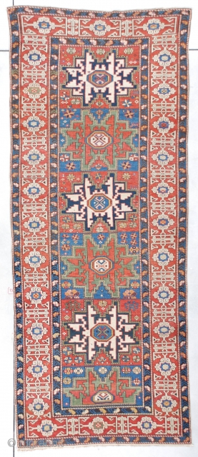 """#7398 Leshgi Runner This circa 1870 Leshgi runner measures 3'4"""" X 8'5"""" (103 x 259cm). This is a very finely woven Leshgi. These are very rare, if not impossible to find. The motif  ..."""