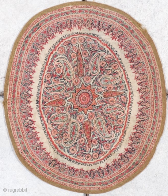 "http://www.antiqueorientalrugs.com/CLOSEUP%20PAGES/7039%20kerman%20embroidery.htm This 19th century antique Kerman embroidery measures 10"" X 11 ½"". It has an ivory ground with an orange star medallion surrounded with botehs of various colors. It has no condition  ..."