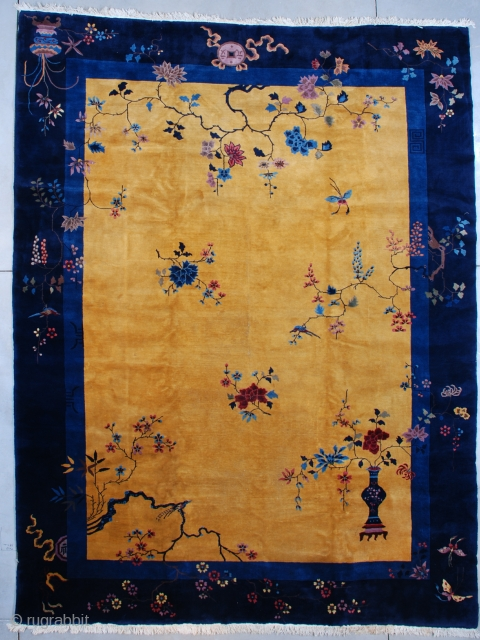 """#7541 Art Deco Chinese Rug  This circa 1920 Mandarin Chinese Art Deco Oriental Rug measures 10'0"""" X 13'3"""" (304 x 405 cm). It has a yellow gold field with a floral motif in  ..."""
