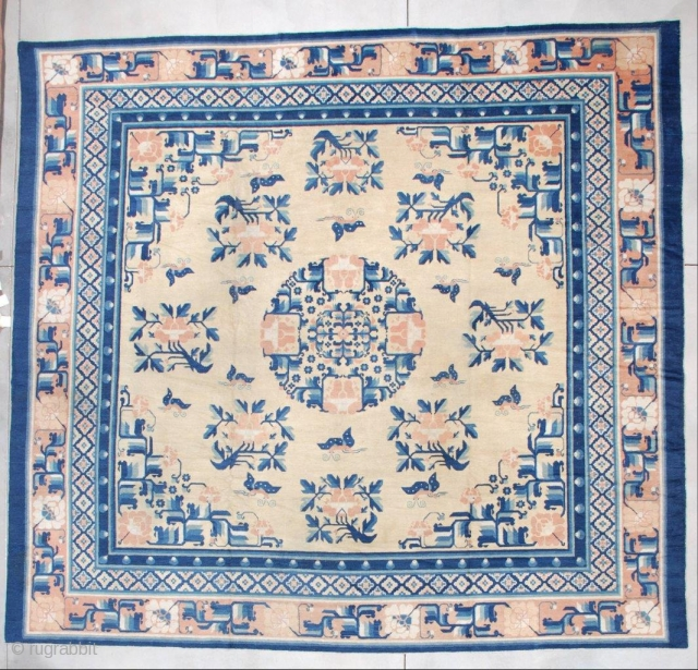 """#7256 Antique Ningxia Chinese Rug  This pre 1850's Ningxia Chinese rug measures a nearly square 12'3' x 11'9"""" (374.9 x 362.71 cm). The field is the color of unsalted butter. It has  ..."""