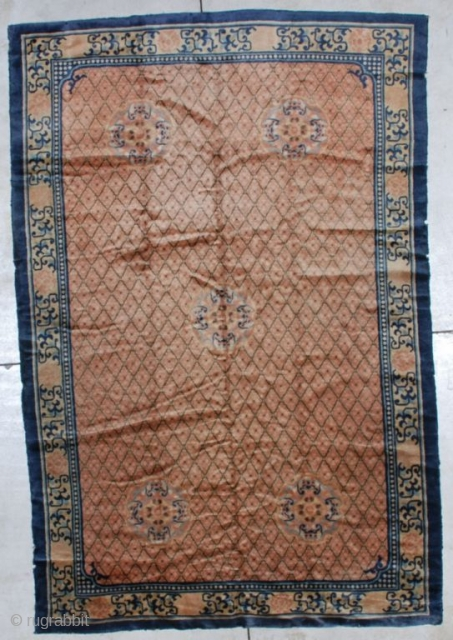"http://www.antiqueorientalrugs.com/CLOSEUP%20PAGES/7175%20Peking%20Chinese%20rug.htm This Peking Chinese rug measures 5'10' x 8'9"".  It has a diamond design on a peachy coppery ground with five medallions, each consisting of four bats facing inward in two  ..."