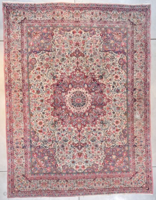#7686 antique Laver Kerman Rug