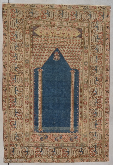 """#7791 Ghiordes Antique Turkish Carpet This circa 1800 Ghiordes antique Turkish Oriental Rug measures 3'9"""" X 5'7"""" (117 x 174 cm). I am dating this rug at 1800 but there are images  ..."""