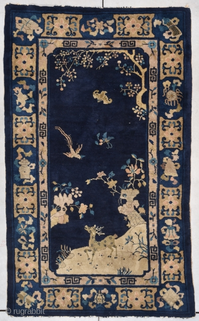 """#7809 Antique Peking Chinese Rug This 4th quarter 19th century Peking Chinese Oriental rug measures 4'0"""" X 6'9"""" (122 x 213 cm). It is a very nice little Peking rug with a charming  ..."""
