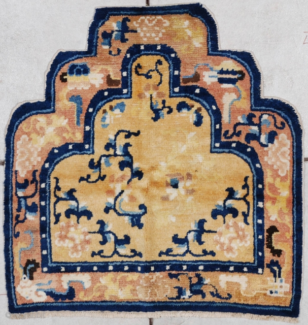 """#7170 Ningxia This circa 1850 Ningxia Throne back measures 2'4' x 2'5"""". It is done in three shades of yellow gold with carnation motif and bats. There is a conch shell and  ..."""