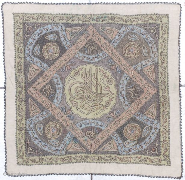 This 19th century Ottoman   metal embroidery measures 3' x 3'. There is a diamond inside of a square with a Tugra in the center.  The Tugra is made of  ...
