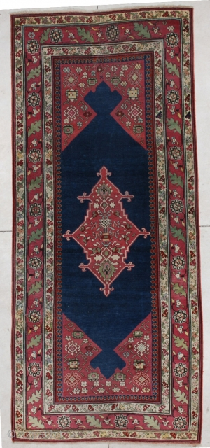 """#5612 Shousha Karabaugh Antique Caucasian Rug  This Fabulous Classic Caucasian Karabaugh antique Oriental rug measures 4'0"""" X 9'4"""". It is in essentially mint condition. It has a midnight blue field with maroon  ..."""