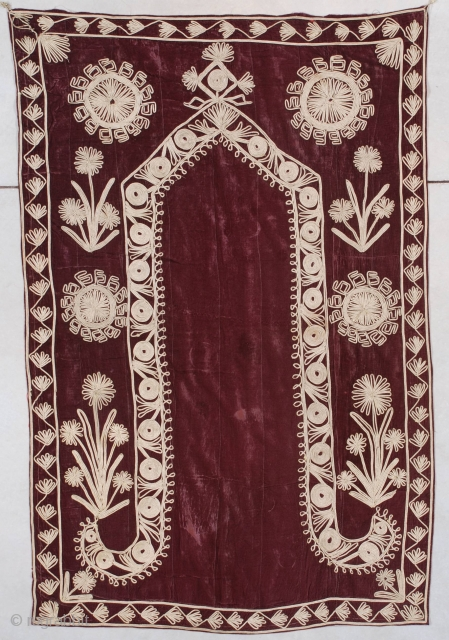 """7518 Ottoman Prayer Tapestry This probably late 19th century Ottoman prayer tapestry measures 3'7"""" X 5'5"""" (112 x 167 cm). The deep maroon velvet with a prayer rug motif is stitched in metal,  ..."""
