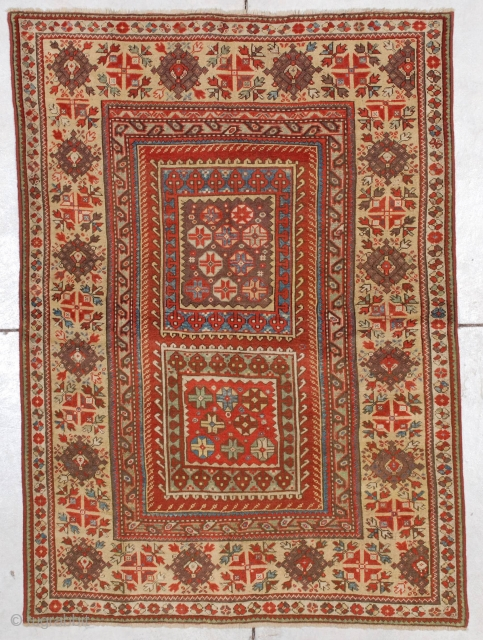 """#7178 Melas   This mid-19th century Melas measures 3'10"""" X 5'4"""" (121 x 164 cm). This motif is known as the box design for obvious reasons. Two squares are filled with the  ..."""