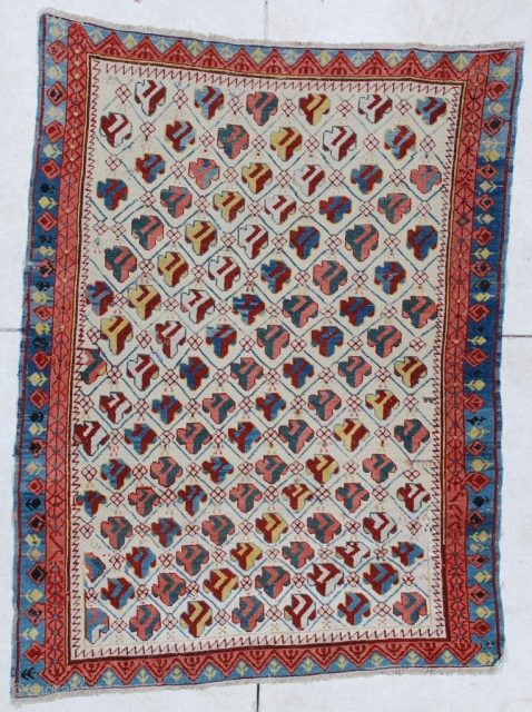 """#6449 Kuba Antique Caucasian Oriental Rug This circa 1850 Kuba measures 3'8"""" x 4'9"""". It is a fantastic and essentially mint condition Kuba for its age. This beauty has 14 diagonal rows of  ..."""