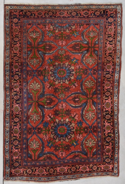 """#7780 Bidjar  This late 19th century Bidjar measures 4'9"""" X 7'3"""" (149 x 222cm).  It is awool warped and wefted Bidjar in full pile perfect condition. There are two 2 ½ medallions  ..."""